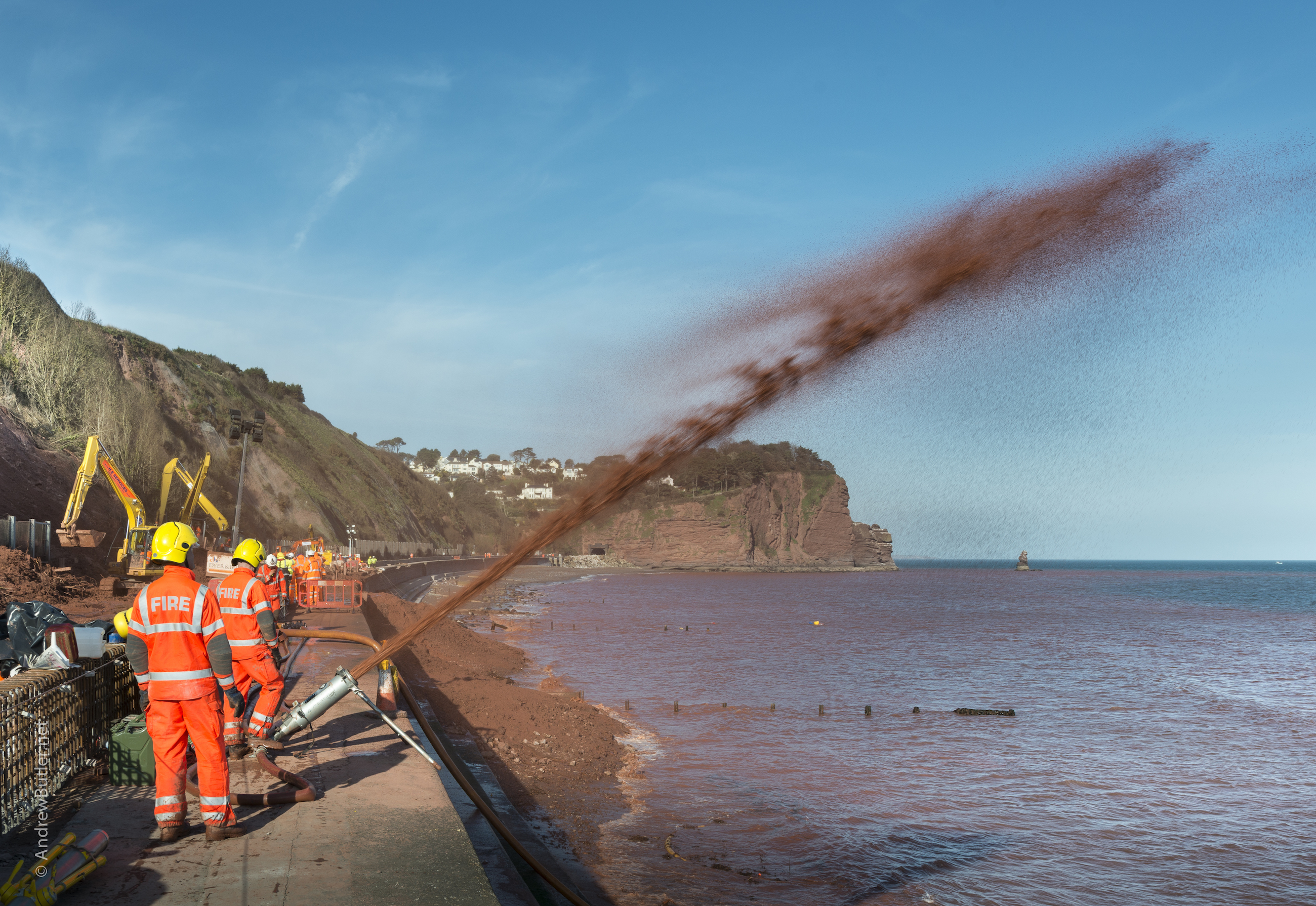 Devon & Somerset Fire & Rescue Service - Teignmouth Floods by Exeter Devon Commercial Industrial Construction Photographer - Andrew Butler