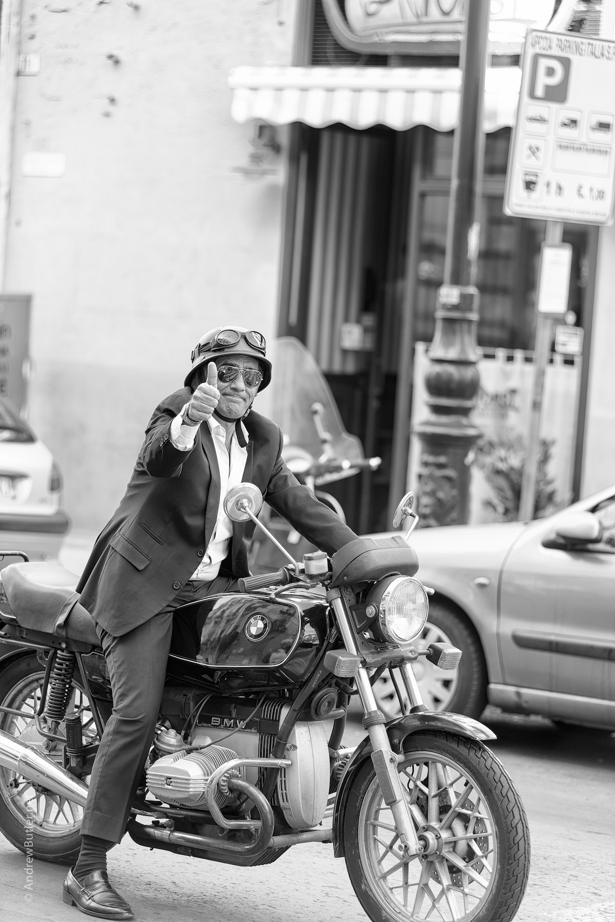 Black and White portrait photograph of Sicilian Man on BMW R45 by Andrew Butler (Exeter)