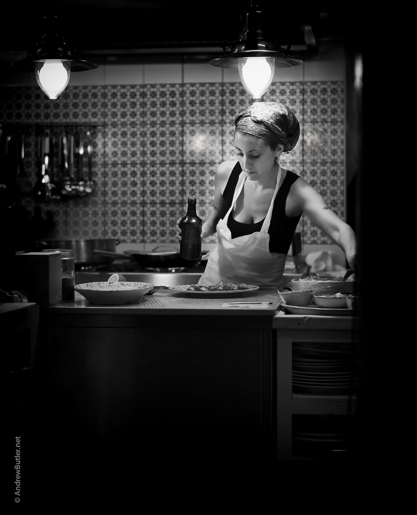 Black and White portrait photograph of Sicilian Cook by Andrew Butler (Exeter)